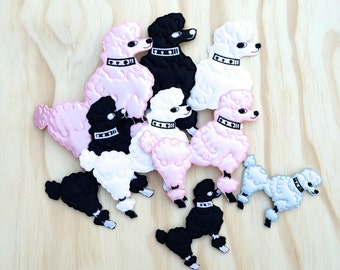 Damia's Family of Iron on Satin Plush Poodles Available in Three Sizes- Black, White, Baby Pink and Baby Blue