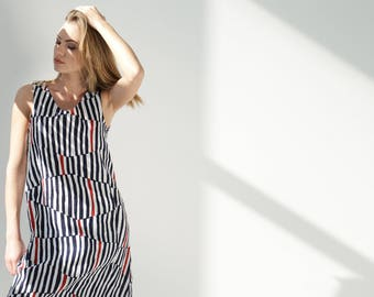 Striped Linen Dress With Pockets