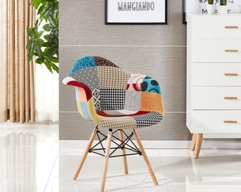 Moda Patchwork Scandinavian Chair Modern Living Room Dining Room Chair Mid Century Design Eames Style With Arms EAMES