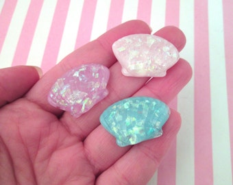 6 Assorted Pastel Seashell Cabochons, Glitter Seashells #521b