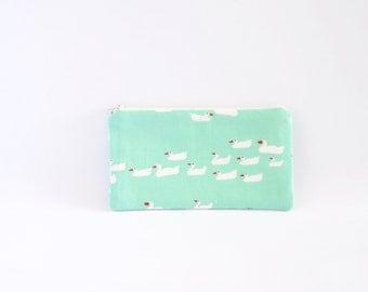 Small Zipper Pouch, Zipper Bag, Makeup Pouch, Cosmetic Pouch, Coin Purse, Bag Storage Organiser - Mint Green With Swans Bird Print