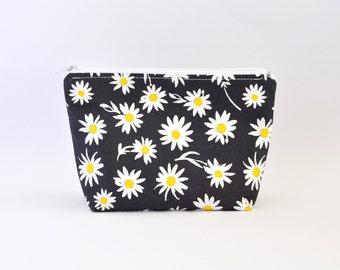 Floral Cosmetic Bag, Zipper Pouch, Makeup Bag, Makeup Pouch, Cosmetic Pouch, Toiletry Bag - Dark Grey Daisies Print