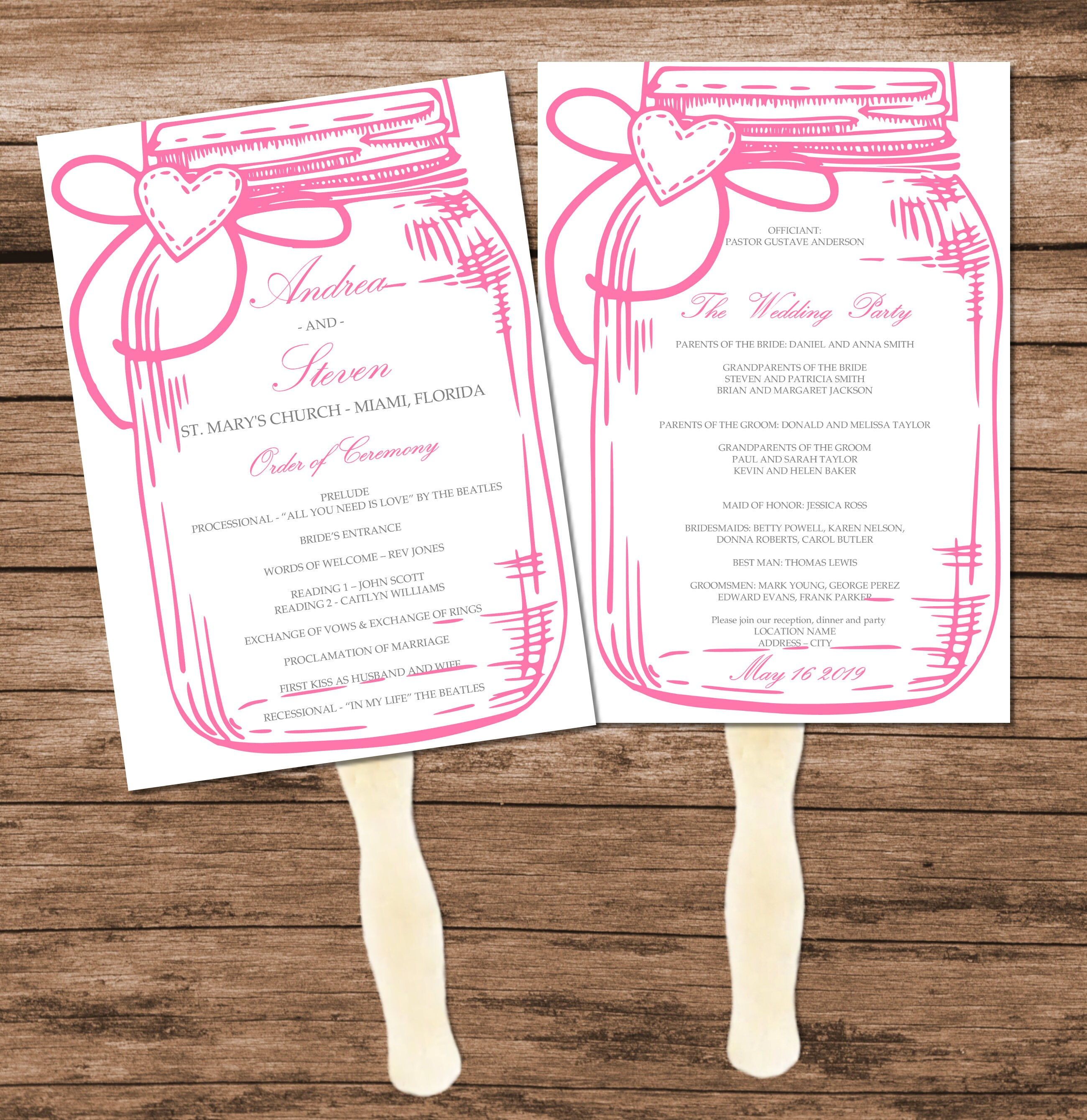DIY Pink Mason Jar Wedding Program Fan Template, Printable Design ...
