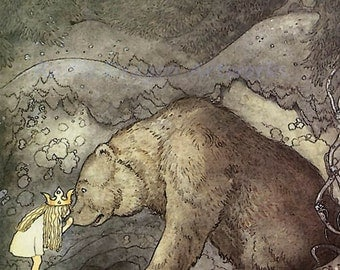"John Bauer ""Kissed the Bear on the Nose"" 1907 Reproduction Digital Print Young Princess Bear Fairy Tale"