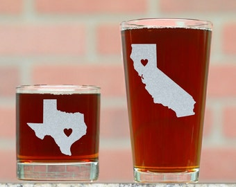 His and Hers Pint and Rocks Glasses. Pick and State and Place Heart Anywhere (Or Text) . Custom Whiskey and Beer Glasses. His and Hers Gifts