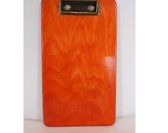 Small Coach's Clipboard, Orange Clipboard, Wooden Clipboard