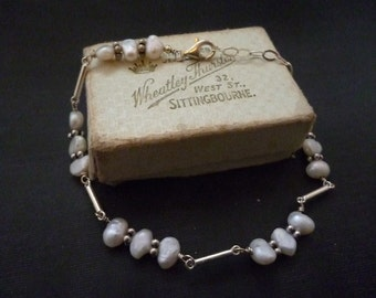 "Vintage Freshwater pearl and sterling silver bracelet - Stunning - 925 - 7"""