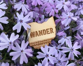 WANDER - Wood - Keychain - Laser Cut - Ohio