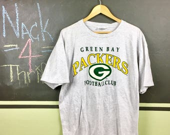 Vintage 1997 Green Bay Packers NFL Football Club Classic Logo Gray Size XL T-Shirt