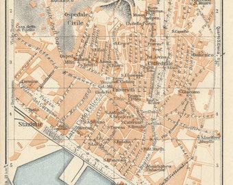 1929 Cagliari Sardinia Italy Antique Map