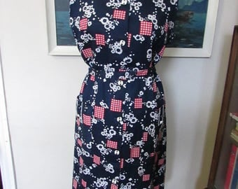 1960s Indriss red/white/blue Modette shift dress with original tags