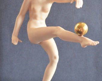 Antique Risque Statue Woman Ball Art Deco Hutschenreuther Porcelain Nude Figurine Carl Werner German Figure Rare Painted Bisque Variation
