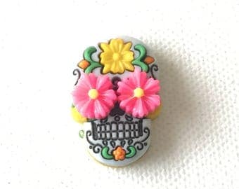 Sugar Skull Pin - Day of the Dead - Calavera - Skull with Flowers - Tie Tack - ID Badge Pal - Halloween Jewelry