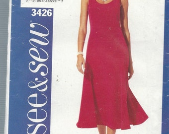 See and Sew 3426 Misses Dress Size 6-10