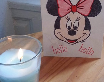 """Minnie Mouse blank cards, Mickey Mouse, """"just because"""", hand-stamped greeting cards"""