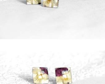 Natural jewelry gift for her Flower studs for women Square earrings for kids Simple earring for teen Pretty earring for sister Cute earrings
