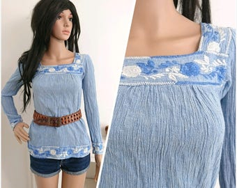 Vintage 70s Indian Embroidered Blue Cheesecloth Top Boho Folk Hippy / UK 8 10 / EU 36 38 / US 4 6