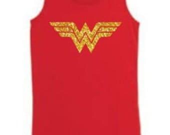 Girls Wonder Woman Glitter Next Level Tank Top Kid's