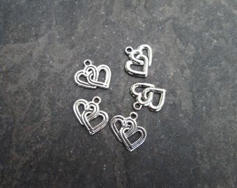 Double Heart Charms package of 5 with antique silver finish Double Sided heart charms for jewelry making Great for Adjustable Bangles!