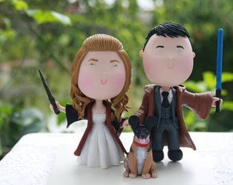 Jedi and witch holding hands. Pet dog. Star Wars Themed Wedding. Handmade. Fully customizable. Unique keepsake
