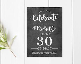 Birthday Party, Birthday Party Invitation, Digital Invitations, 30th Birthday, 30th Birthday Party, Chalkboard Invitation, Birthday [611]