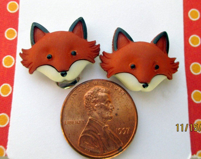 Fox earrings-Fox jewelry-Animal Earrings-woodland jewelry-childrens-clip on earrings-fox studs-teens-tweens-kids-girls-storybook earrings