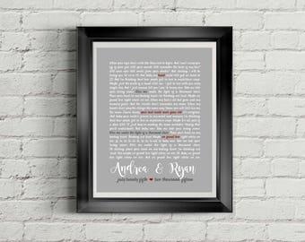Custom PRINTABLE Wedding Song Lyrics/Wedding Vows Digital Art Print with Solid Background Color & Names/Date