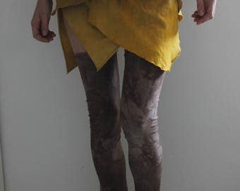Pixie skirt - more layers - scrap organic fabric - ecofiendly - hand dyed - golden brown - size S