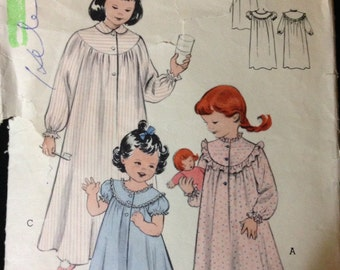 Butterick 6208 - 1950s Little Girls Nightgown with Yoke Front and Trim Options - Size 2 Chest 21