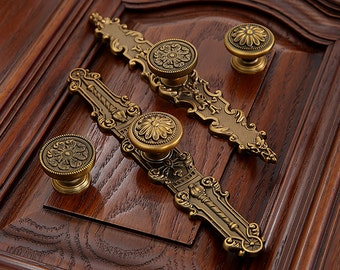 Dresser Knobs Handles Drawer Knobs Pulls Handles Kitchen Cabinet Knobs  Handles Antique Brass Ornate Furniture Door Handles Knobs Back Plate