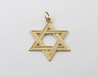 14k Yellow Gold Star Of David Charm Pendant - Yellow gold Jewish Star