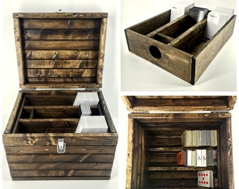 Made to Order: Divided Trading Card Game Box with Removable Tray, Large Collectors Storage Trunk, Playing Card Collection Box 6 Sections