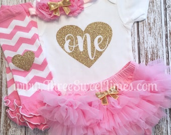 First Birthday Baby Girl Outfit | 1st Bodysuit |  Light Pink Gold Glitter |  1st Photo Shoot Smash Cake | Leg Warmer Tutu Bloomer Headband