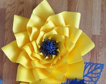 Paper flower template, paper flower pattern ONLY. DIY paper flower tutorial, Paper flower backdrop template