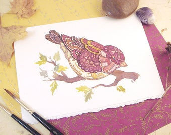 Watercolor Purple Finch Print Greeting Card