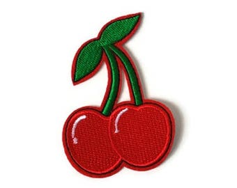 Cherries Patch 1pc Sew On Iron On Cherry Tattoo Rockabilly Pin-up! DIY Applique Embellishment Embroidery Logo Notion