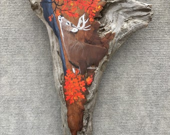 Deer on Driftwood Painting by David Semones 3-27-1-17/Gifts for him