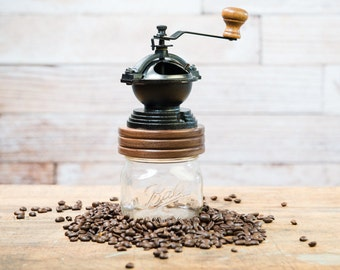 Coffee Grinder, Mason Jar, Hand Grinder, Valentines Gift, Gift for Her, Coffee Lover Gift, Hand Grinder, Made in Canada from Walnut