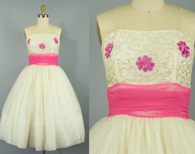 1950s floral chiffon party dress/ 50s sequin pink and cream cocktail dress/ small