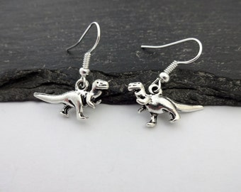 Dinosaur Earrings, Charm Earrings, Silver Earrings, Animal Earrings, Dinosaur Jewellery, Animal Jewellery