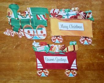 Vintage Paper Christmas Train Decoration