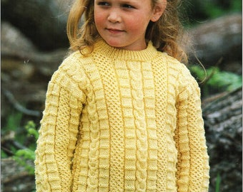 afc06fc71 childrens 4ply sweater knitting pattern pdf childs textured jumper 22-30
