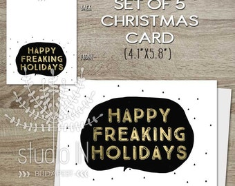 SET OF 5 Funny Christmas Cards, funny holiday card, Funny xmas card, typography cards, humorous xmas card, black and white card