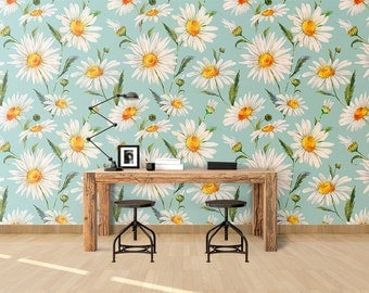 White Daisy Wallpaper - White Daisies - Removable Wallpaper - Peel & Stick - Self Adhesive Fabric - Temporary Wallpaper - SKU:DAIWL