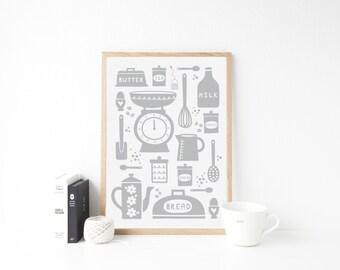 Kitchen Print. Kitchen Poster. Scandi Kitchen Print. Kitchen Pictures. Kitchen Wall Art. Kitchen Art. Kitchen Decor. Kitchen Wall Decor.