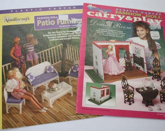 "Plastic Canvas Patterns, 11.5"", Barbie /Fashion Doll Furniture, Carry Play Dining Room, Patio Furnishings, Needlecraft Shop 943746, 923718"