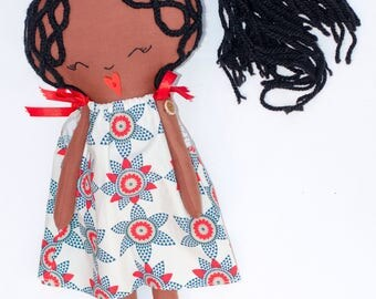 Handmade rag doll, black rag doll, african print dress, multicoloured, cloth doll, african american Doll, dress up doll, handmade