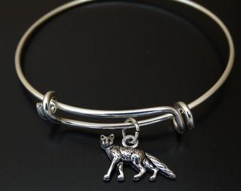 Fox Bangle Bracelet, Adjustable Expandable Bangle Bracelet, Fox Charm, Fox Pendant, Fox Jewelry, Fox Gift, Fox Girl, Wood Animal Bracelet