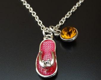 Flip Flop Necklace, Flip Flop Charm, Flip Flop Pendant, Flip Flop Jewelry, Beach Necklace, Beach Jewelry, Travel Necklace, Vacation Jewelry