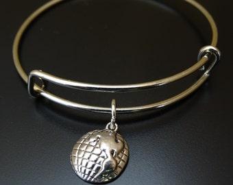 Globe Bangle Bracelet, Adjustable Expandable Bangle Bracelet, Globe Charm Bracelet, Globe Pendant, Globe Bracelet, Travel Bracelet, Holiday